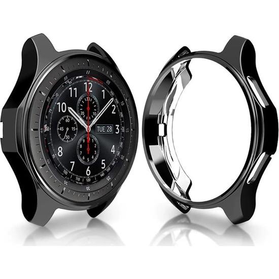 Microcase Samsung Galaxy Watch 46 mm Önü Açık Tasarım Silikon Kılıf - Siyah
