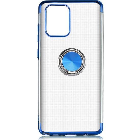 Coverzone Samsung Galaxy Note 10 Lite Kılıf Dört Köşeli Lazer Şeffaf Silikon Thunder Mavi + Nano Glass