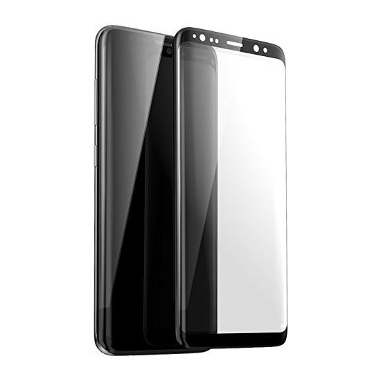 AkseStore Samsung Galaxy S8 Tam Yapışan 5D Full Cover Ekran Koruyucu Cam Siyah