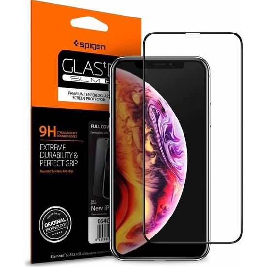 Spigen Apple iPhone 11 / iPhone XR Cam Ekran Koruyucu Tam Kaplayan Full Cover Black - 064GL25233