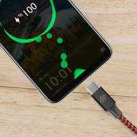 Qwerts USB Type-C Hızlı Şarj ve Data Kablosu Örgülü Kırmızı/siyah 1 mt