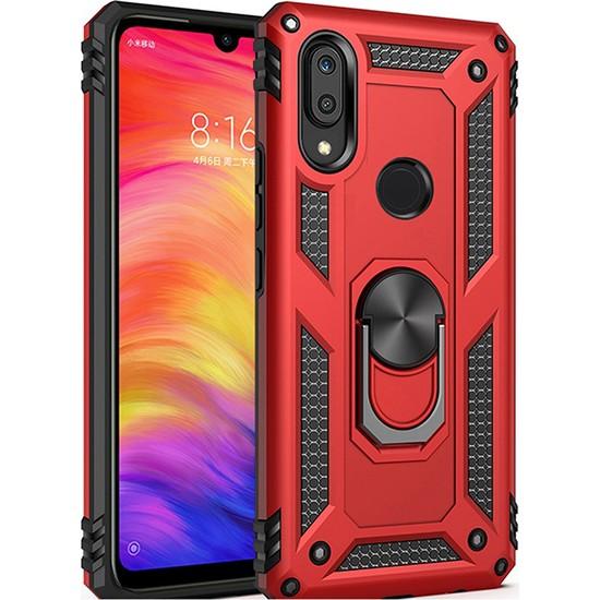 LionTech Huawei P Smart 2019 Kılıf Zırh Koruma Yüzüklü Standlı Armor Silikon Kapak Kırmızı