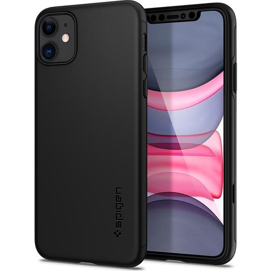 Spigen Apple iPhone 11 Kılıf Thin Fit 360 Koruma Black (Cam Ekran Koruyuculu) - 076CS27071