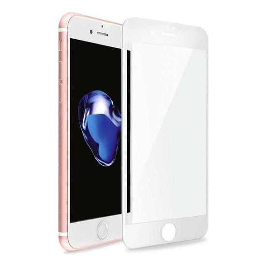 Zore Apple iPhone 7 10D Tam Kaplayan Curved Temperli Ekran Koruyucu Beyaz