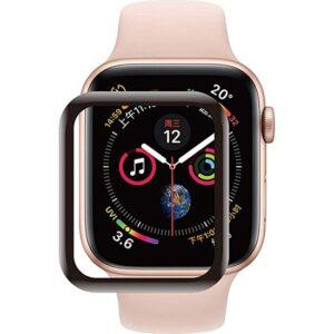 Case 4U Apple Watch Seri 5 44mm Tam Kaplayan Kavisli Cam Ekran Koruyucu Siyah