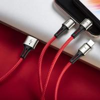Baseus Caring Touch Serisi 3in1 Çoklu Data ve Şarj Kablosu - Kırmızı