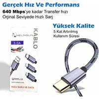 Helixsun 3.0 USB Type-C Hızlı Şarj ve Data Kablosu - 2 MT Füme
