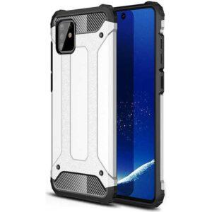 Case 4U Samsung Galaxy Note 10 Lite Kılıf Çift Katmanlı Zırh Koruma Tank Crash + Nano Cam Ekran Koruyucu Gümüş