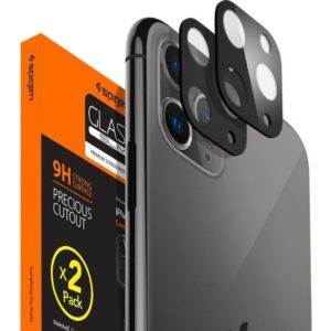 Spigen Apple iPhone 11 Pro Max / iPhone 11 Pro Kamera Lens Cam Ekran Koruyucu Full Cover Black / Siyah (2 Adet) - AGL00500