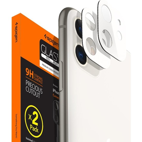 Spigen Apple iPhone 11 Kamera Lens Cam Ekran Koruyucu Full Cover White / Beyaz (2 Adet) - AGL00507