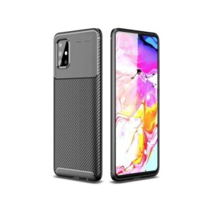 Kilifve Samsung Galaxy A71 Kılıf Silikon Esnek Karbon Görünümlü Negro Kapak - Siyah