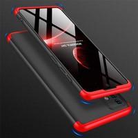 Kilifve Samsung Galaxy A51 3 Parçalı Ince 360 Rubber Kapak - Siyah - Kırmızı