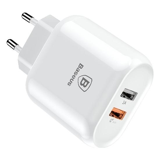 Baseus 18W Qualcomm 3.0 2 USB Hızlı Şarj Başlığı - Beyaz - CCALL-AG02