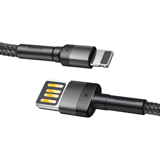 Baseus Special Edition iPhone 2.4A 1M Hızlı Şarj Halat Usb Kablo - Gri Siyah - CALKLF-GG1
