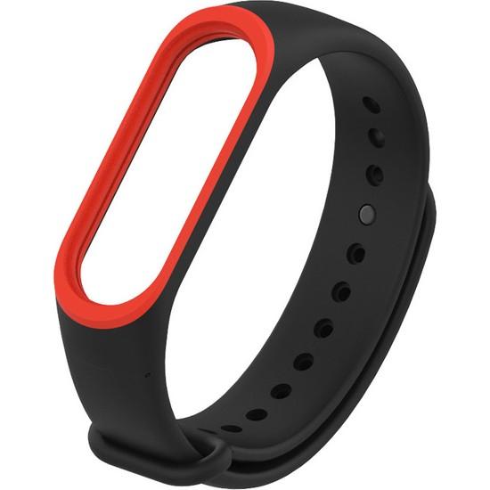 Pars Teknoloji Mi Band 3/4 Akıllı Bileklik Kordonu Siyah - Kırmızı