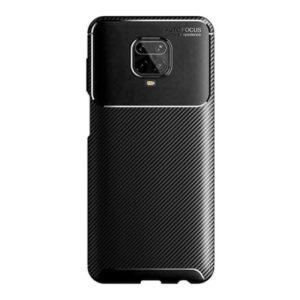 Case 4U Xiaomi Redmi Note 9S / Note 9 Pro Kılıf Karbon Desenli Sert Silikon Arka Kapak Negro + Cam Ekran Koruyucu Siyah