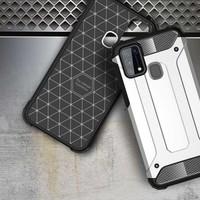 Case 4U Samsung Galaxy M31 Kılıf Çift Katmanlı Zırh Koruma Tank Crash Arka Kapak + Cam Ekran Koruyucu Siyah