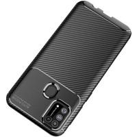 Case 4U Samsung Galaxy M31 Kılıf Karbon Desenli Sert Silikon Arka Kapak Negro + Cam Ekran Koruyucu Lacivert