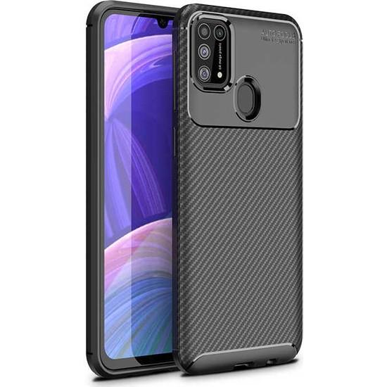 Case 4U Samsung Galaxy M31 Kılıf Karbon Desenli Sert Silikon Arka Kapak Negro + Cam Ekran Koruyucu Siyah