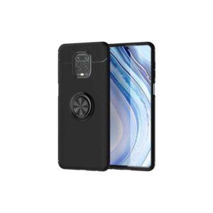 Case 4U Xiaomi Redmi Note 9S / Note 9 Pro Kılıf Yüzüklü Darbeye Dayanıklı Ravel Arka Kapak + Cam Ekran Koruyucu Siyah