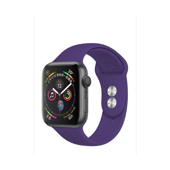 Aceshley Apple Watch 5/4/3/2/1 Serisi 38 mm ve 40 mm Silikon Kordon Kayış Mor