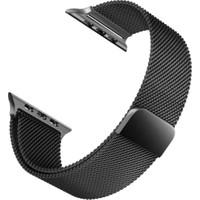 Aceshley Apple Watch 5/4/3/2/1 Serisi 42 mm ve 44 mm Hasır Metal Kordon Kayış Mıknatıslı Siyah