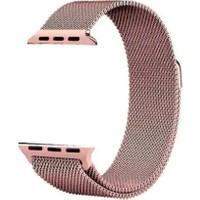 Aceshley Apple Watch 5/4/3/2/1 Serisi 38 mm ve 40 mm Hasır Metal Kordon Kayış Mıknatıslı