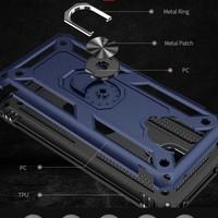 Fibaks Xiaomi Redmi Note 9 Pro Kılıf Armor Serisi Metal Yüzüklü Tank Zırh Siyah