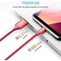 Incore inLine USB-C Type-C 1 Mt USB 3.0 Örgülü Hızlı Şarj ve Data Kablosu 3A Samsung Huawei Xiaomi Sony Koyu Gri