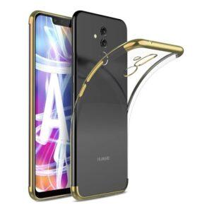 RedClick Huawei Mate 20 Lite Kılıf Ultra Slim Şeffaf Dört Köşe Lazer Silikon - Gold