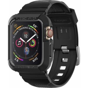 Spigen Apple Watch Seri 6/SE/5/4 (44mm) ile Uyumlu Kılıf Rugged Armor Pro (Kayış + Kılıf) Black - 062CS25324