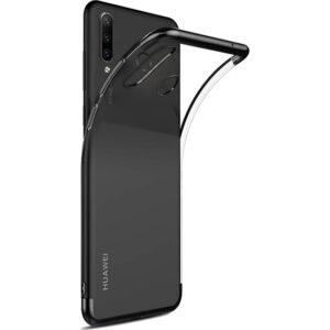 DVR Huawei P30 Lite Kılıf Silikon Dört Köşeli Lazer Kapak (Siyah) + Cam Ekran Koruyucu