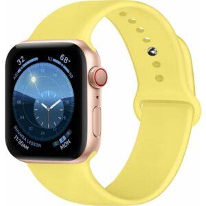 Case 4U Apple Watch Seri 6/SE/5/4 Silikon Spor Kordon 44mm 42mm Uyumlu Açık Sarı