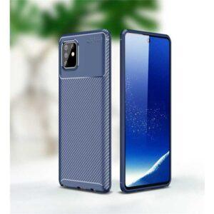 Case 4U Samsung Galaxy Note 10 Lite Kılıf Karbon Desenli Sert Negro + Nano Cam Ekran Koruyucu Lacivert