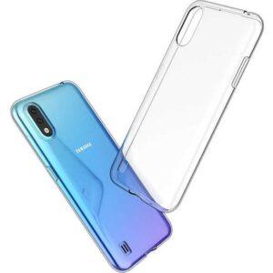 Case 4U Samsung Galaxy A01 Kılıf Süper Silikon Arka Kapak + Cam Ekran Koruyucu Şeffaf
