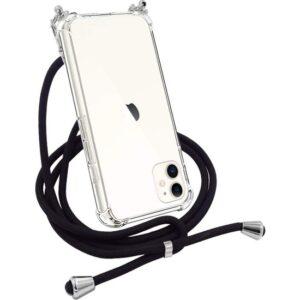 Case 4U Apple iPhone 11 Kılıf Boyuna Askılı İpli Silikon Arka Kapak + Cam Ekran Koruyucu Siyah