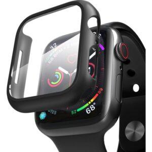 Microsonic Apple Watch Series 5 44mm Kılıf Matte Premium Slim Ekran Koruyuculu Kılıf Siyah