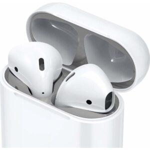 Spigen Apple AirPods 2/1 Nesil Uyumlu Kapak İçi Kir / Toz Önleyici Shine Shield Metal Silver (2 Adet) - ASD00213