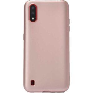 Case 4U Samsung Galaxy A01 Kılıf Mat Silikon Lüks Arka Kapak Premier + Cam Ekran Koruyucu Rose Gold