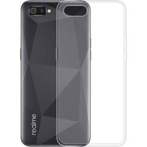 Case 4U Realme C2 Kılıf Süper Silikon Arka Kapak + Cam Ekran Koruyucu Şeffaf