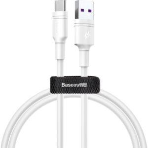Baseus Double-Ring Huawei Quick Charge Uyumlu Kablo USB For Type-C 5A 1M Beyaz CATSH-B02