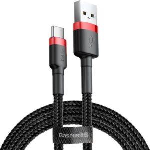 Baseus Type-C Cafule Hızlı Şarj Kablosu USB 3A 1 m - Kırmızı Siyah - CATKLF-B91