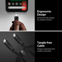Spigen DuraSync USB-C to USB-C 3.2 100W Kevlar Hızlı Şarj ve 480mb/s Data Hızı Kablo (1 Metre) C10C3 Black - 000CA25705