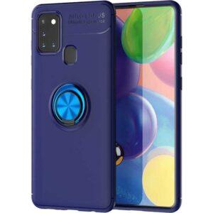 Case 4U Samsung Galaxy M31 Kılıf Yüzüklü Darbeye Dayanıklı Arka Kapak Ravel + Cam Ekran Koruyucu Lacivert