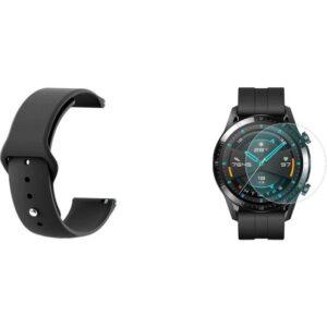 Huawei Watch Gt 2 46 mm Kayış + Nano Glass Ekran Koruyucu