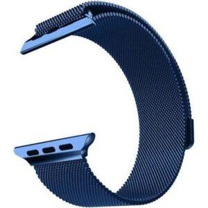 Aceshley Apple Watch 5/4/3/2/1 Serisi 42 mm ve 44 mm Hasır Metal Kordon Kayış Mıknatıslı Lacivert