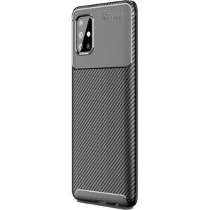 Kny Samsung Galaxy A31 Kılıf Karbon Desenli Lux Negro Silikon + Cam Ekran Koruyucu Sİyah