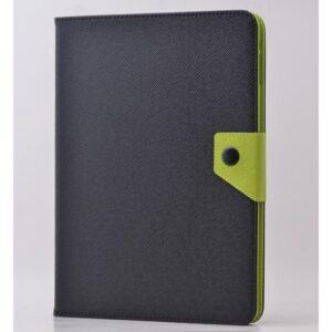 Fujimax Apple iPad 5.nesil 9.7 2017 A1822 A1823 Seri Delüx Kumaş Desenli Kartlıklı Silikon Tablet Kılıf Siyah-Yeşil