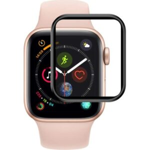 Microsonic Apple Watch Series 6 44mm Tam Kaplayan Temperli Cam Full Ekran Koruyucu Siyah