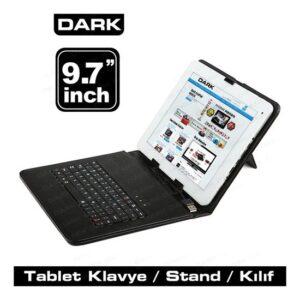 Dark 9.7'' USB Klavyeli Deri Siyah Tablet Kılıfı